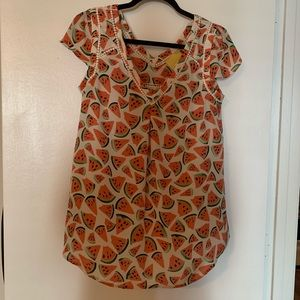 Anthropologie Maeve watermelon print top, small